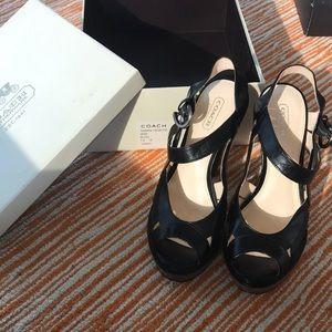 Coach 7 Tamara vachetta black sandal heel